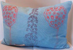 Pale blue linen cushion
