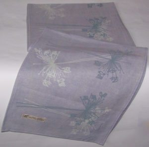 lilac linen with flowers
