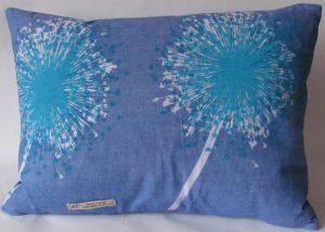 Blue Linen Rectangular Cushion