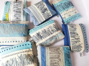 handprinted purses