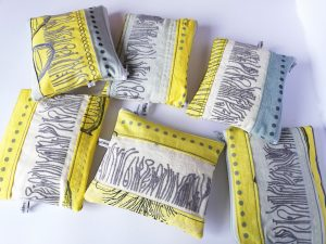 yellow handmade purse