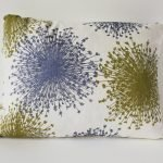 olive green rectangular linen cushion